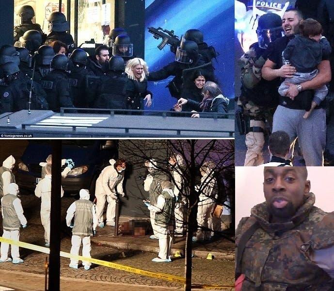 إخراج الرهائن بعد اقتحام الشرطة للمتجر، وصورتان لكوليبالي قبل العملية وبعد مقتله