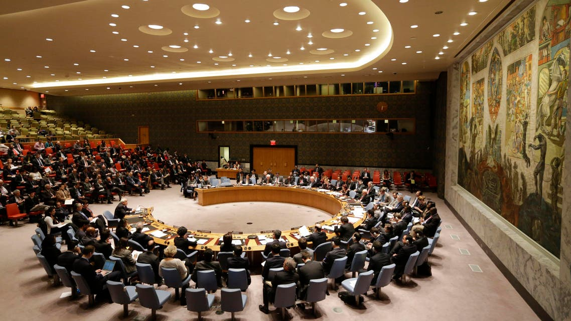 Members listen as Palestinian Ambassador to the United Nations Riyad Mansour, speaks during a meeting of the U.N. Security Council, Tuesday, Dec. 30, 2014, at the United Nations headquarters. (AP)