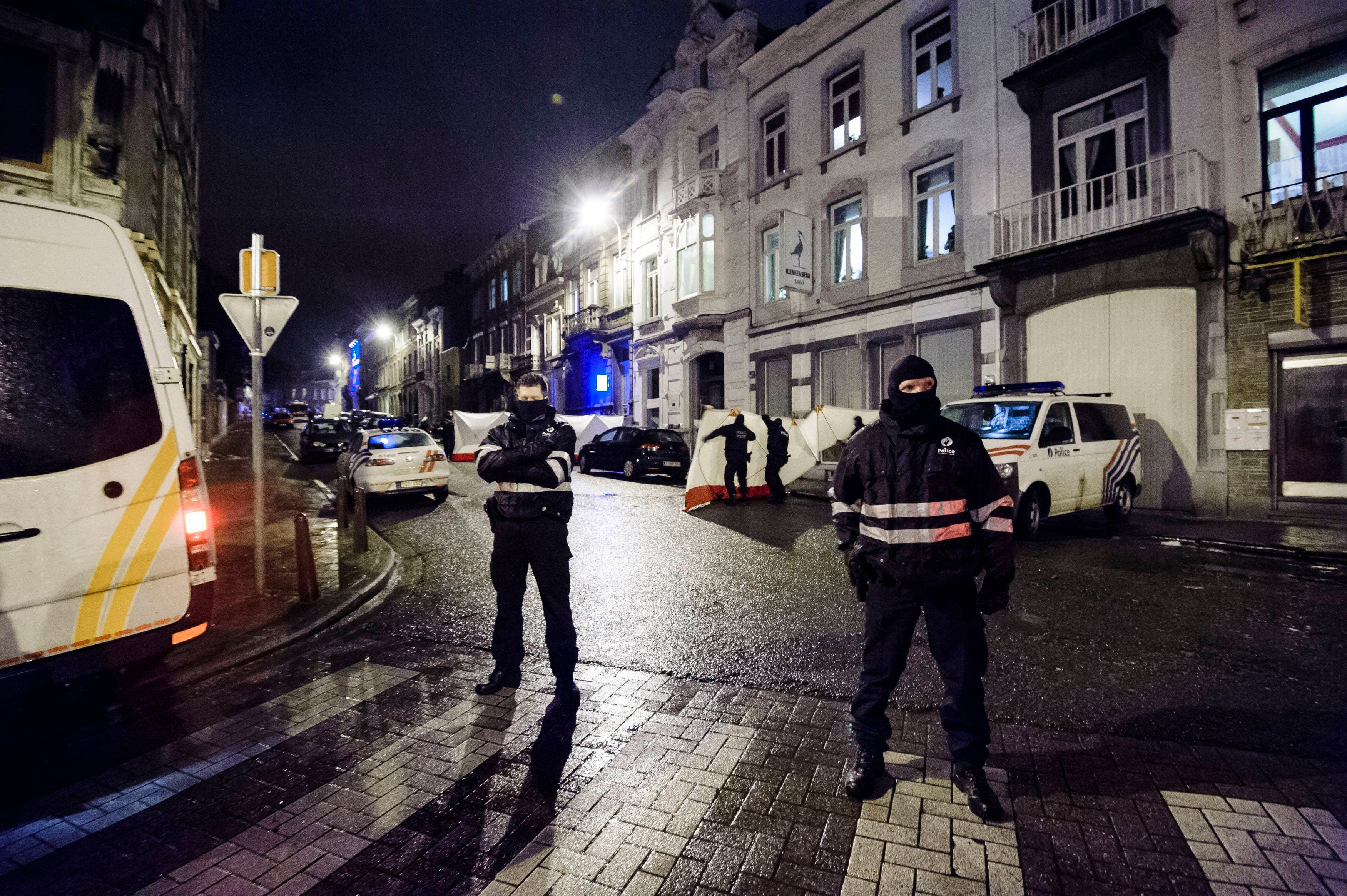 Belgian police block a street in central Verviers, a town between Liege and the German border, in the east of Belgium Jan. 15, 2015. (Reuters)