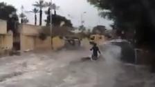 Video shows man jet skiing as sewage water floods Alexandria street