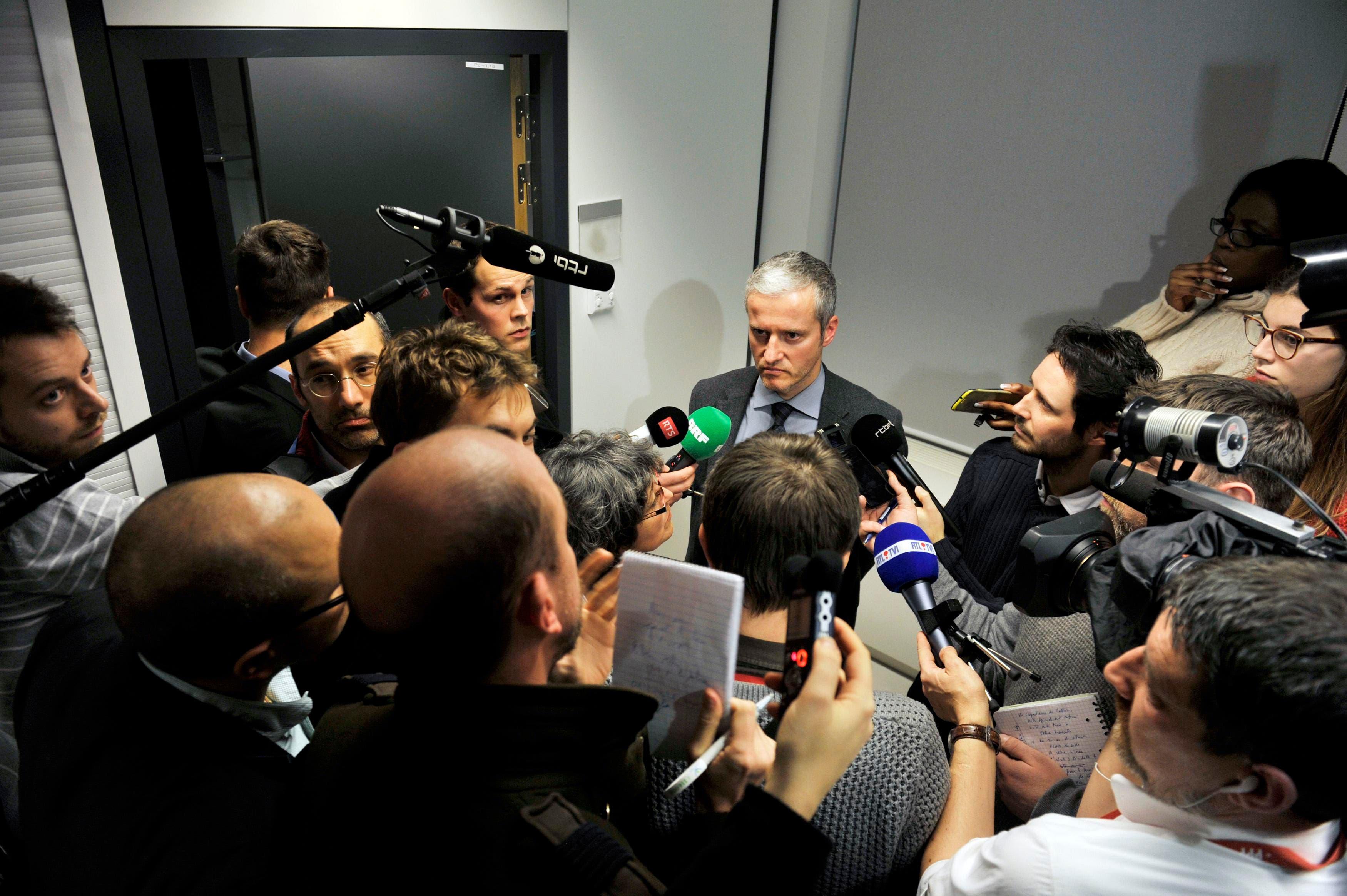 Belgian prosecutors' spokesman Thierry Werts talks to reporters in Brussels January 15, 2015, REUTERS