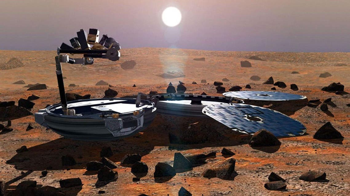 A file handout image released by the European Space Agency in 2002 shows an artist's impression of Beagle 2 on the surface of Mars. AFP