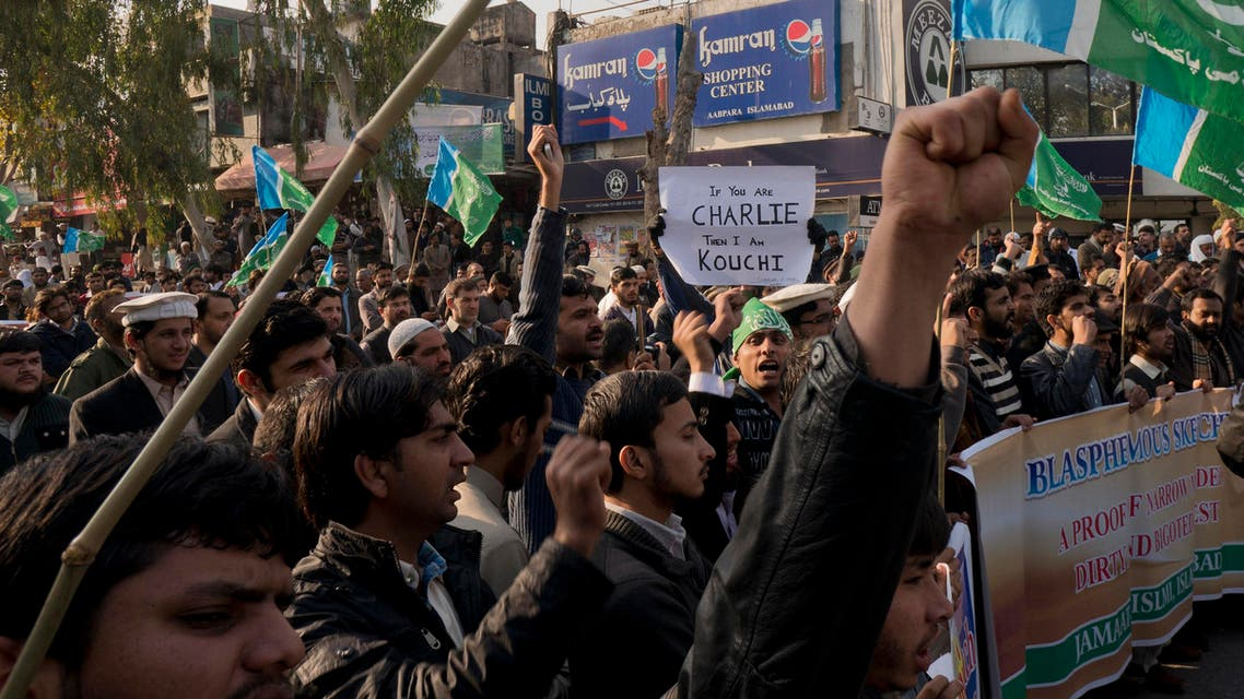 Supporters of Pakistani religious party Jamaat-i-Islami rally to protest against French satirical magazine Charlie Hebdo in Islamabad, Pakistan, Friday, Jan. 16, 2015.  AP