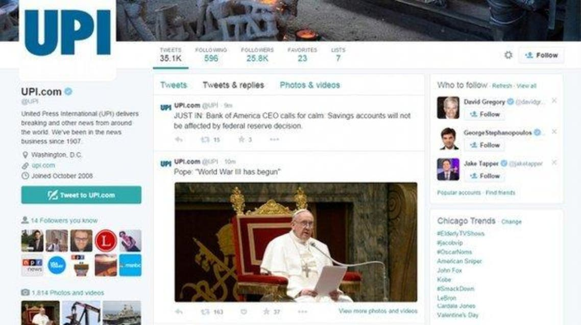 "One tweet posted under the UPI account quoted Pope Francis as saying, ""World War III has begun"""