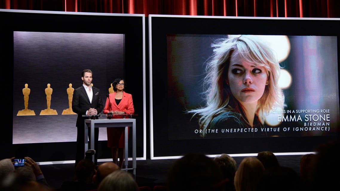 Chris Pine, left, and Academy President Cheryl Boone Isaacs announce the Academy Awards nominees for best actress in a supporting role at the 87th Academy Awards nomination ceremony on Thursday, Jan. 15, 2015 in Beverly Hills, Calif. AP
