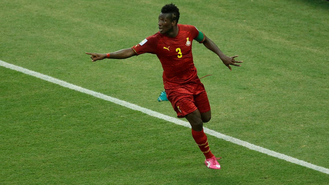 Ghana's Asamoah Gyan celebrates scoring his side's second goal during the group G World Cup soccer match between Germany and Ghana at the Arena Castelao in Fortaleza, Brazil, Saturday, June 21, 2014. (File: AP Photo)