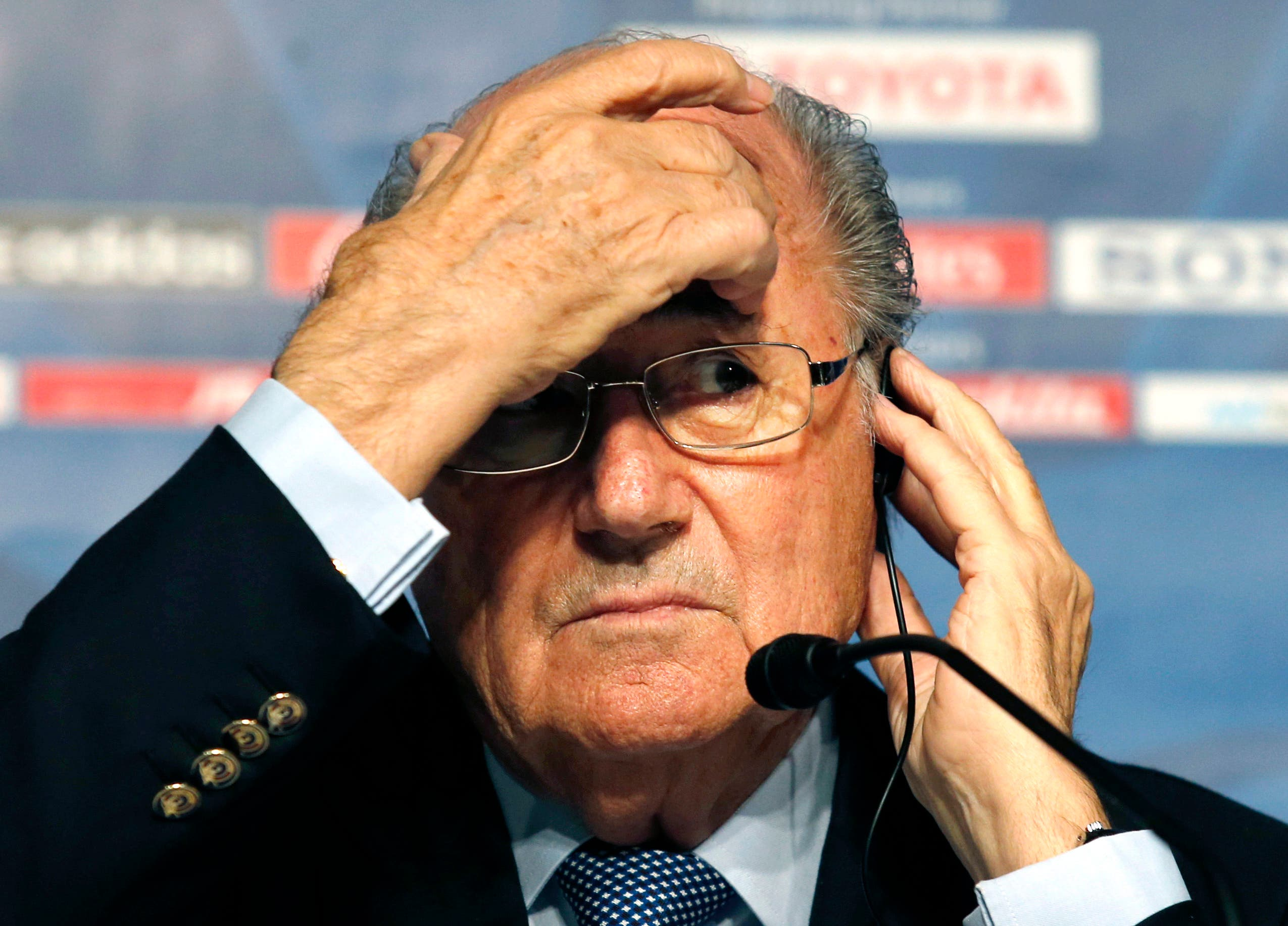 Blatter gestures during during a press conference. (File photo AP)
