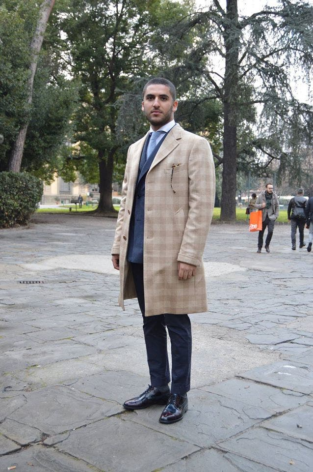 Elias al-Indari poses at the Pitti Uomo fashion fair in Florence in January. (Al Arabiya News/ Salma El Shahed)