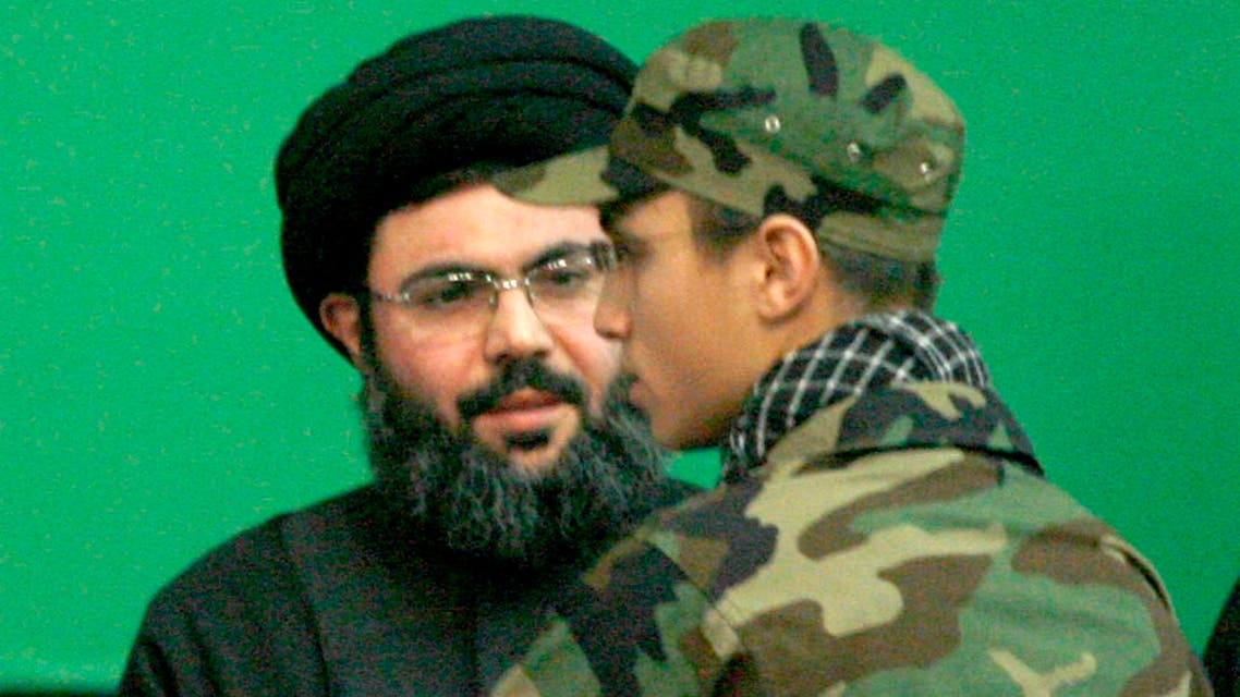 Jihad Moughniyah (R), son of Lebanon's Hezbollah late military leader Imad Moughniyah, greets Sayyed Hashem Safieddine, head of Hezbollah's Executive Council, as they attend a ceremony marking a week of his father's death in Beirut's suburbs in this February 22, 2008. (File photo: Reuters)