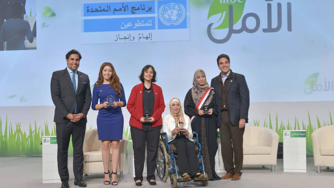UNV winners with both Ahmad Alhendawi- United Nations Secretary- General's Special Envoy on Youth & Mazen Hayek- MBC Group Official Spokesman and Group Director of PR & Commercial. (MBC Photo)