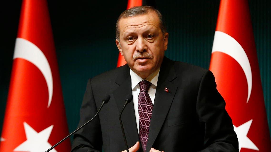 Turkey's President Tayyip Erdogan addresses the media at the Presidential Palace in Ankara January 12, 2015. REUTERS