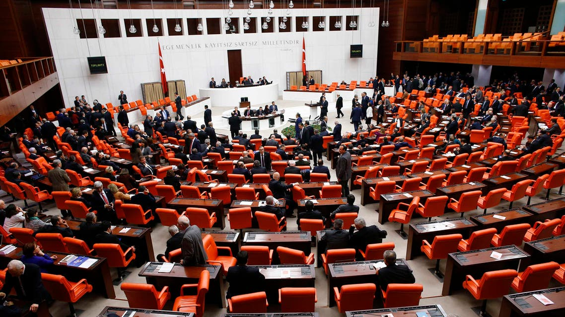 Turkish Parliament convene for a debate in Ankara January 20, 2015. Parliament was to vote on Tuesday on whether to commit four former ministers for trial over the corruption allegations. REUTERS
