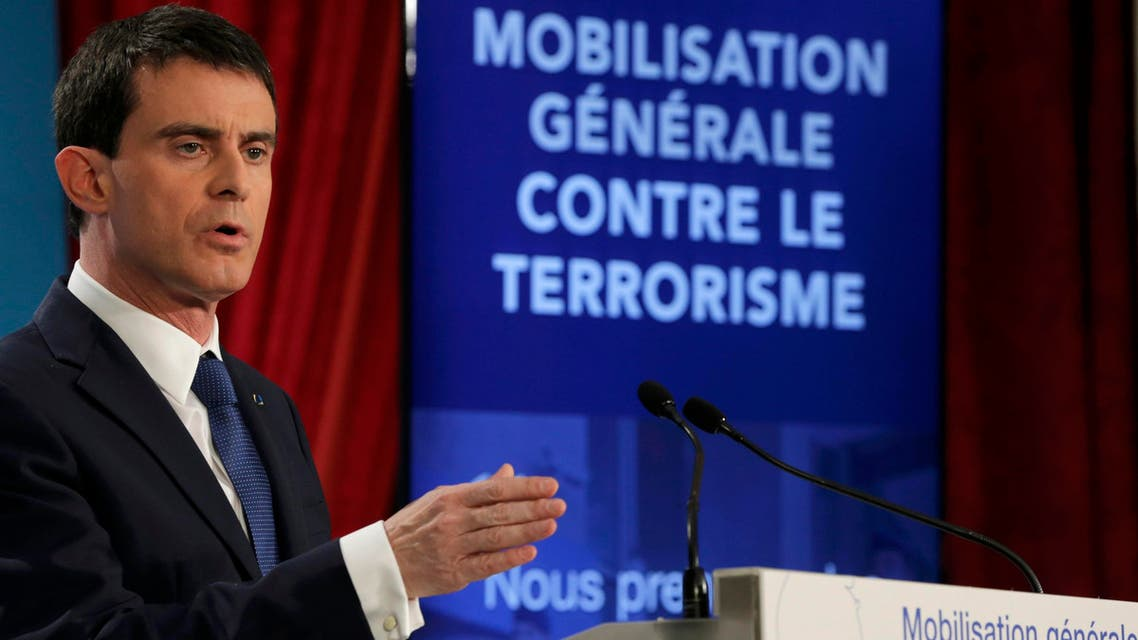 French Prime Minister Manuel Valls attends a news conference to unveil new security measures ahead of a defence council at the Elysee Palace in Paris January 21, 2015. REUTERS