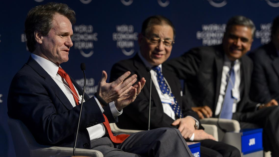 """From left: Bank of America Chairman and CEO Brian Moynihan, Hong-Kong Fung Global Institute's Liu Mingkang and Deutsche Bank Co-CEO Anshu Jain Participants attend a session called """"The New Banking Context"""" AFP"""
