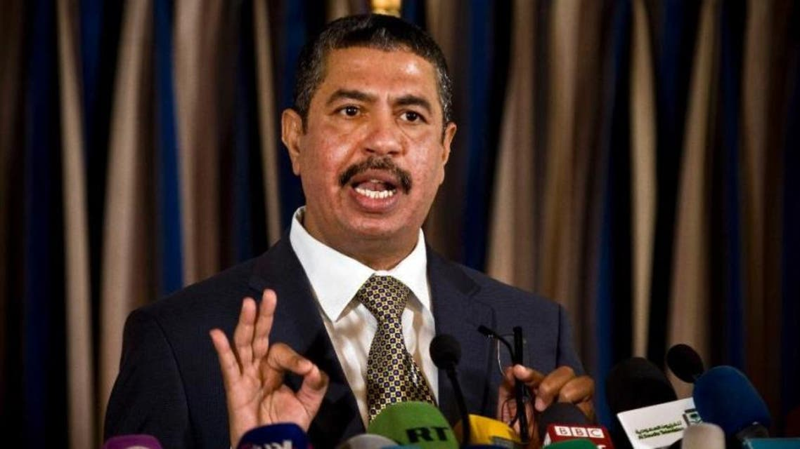 Newly-appointed Yemeni Prime Minister Khaled Bahah speaks to reporters during a press conference in Sanaa, Yemen, Sunday, Nov. 9, 2014. APF