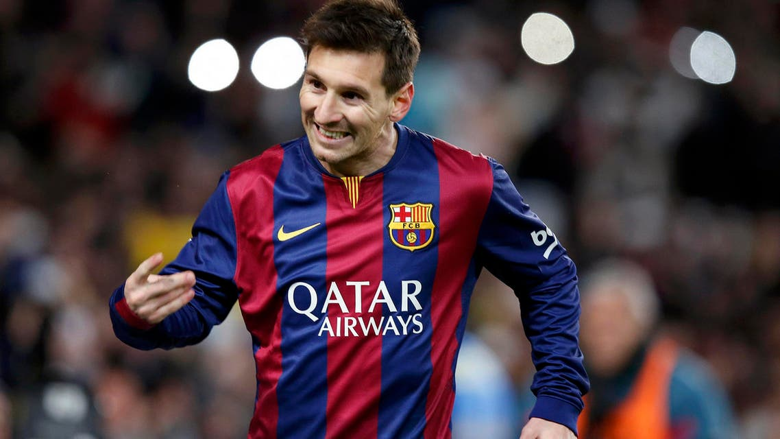 Barcelona's Lionel Messi celebrates after scoring a goal during their King's Cup quarter-final first leg soccer match against Atletico Madrid at the Nou Camp stadium in Barcelona, Jan. 21, 2015. (Reuters)