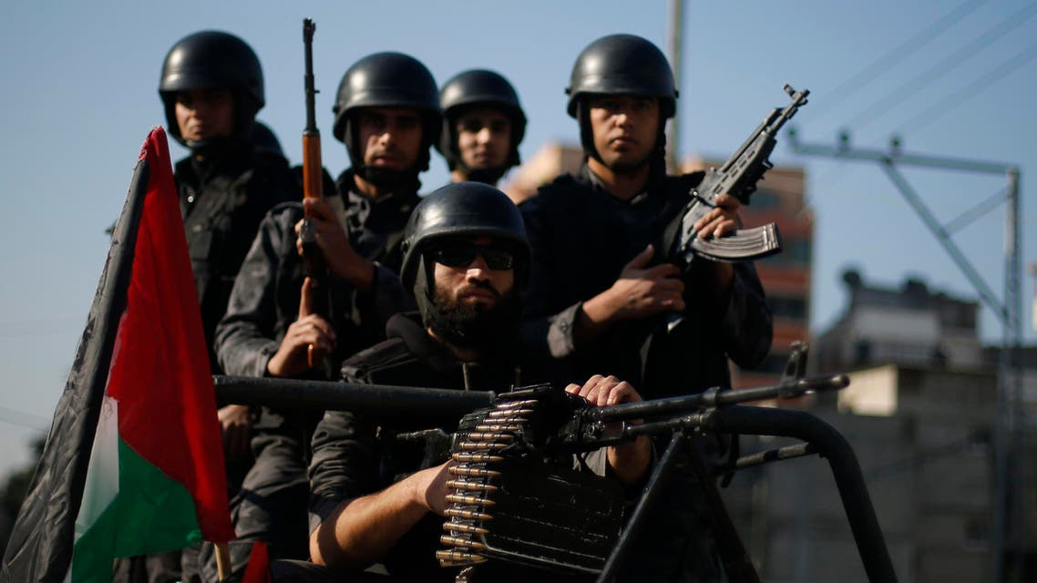 Members of Palestinian security forces loyal to Hamas take part in a parade marking the sixth anniversary of the death of former Hamas interior minister Saeed Seyam, in Gaza City January 18, 2015.