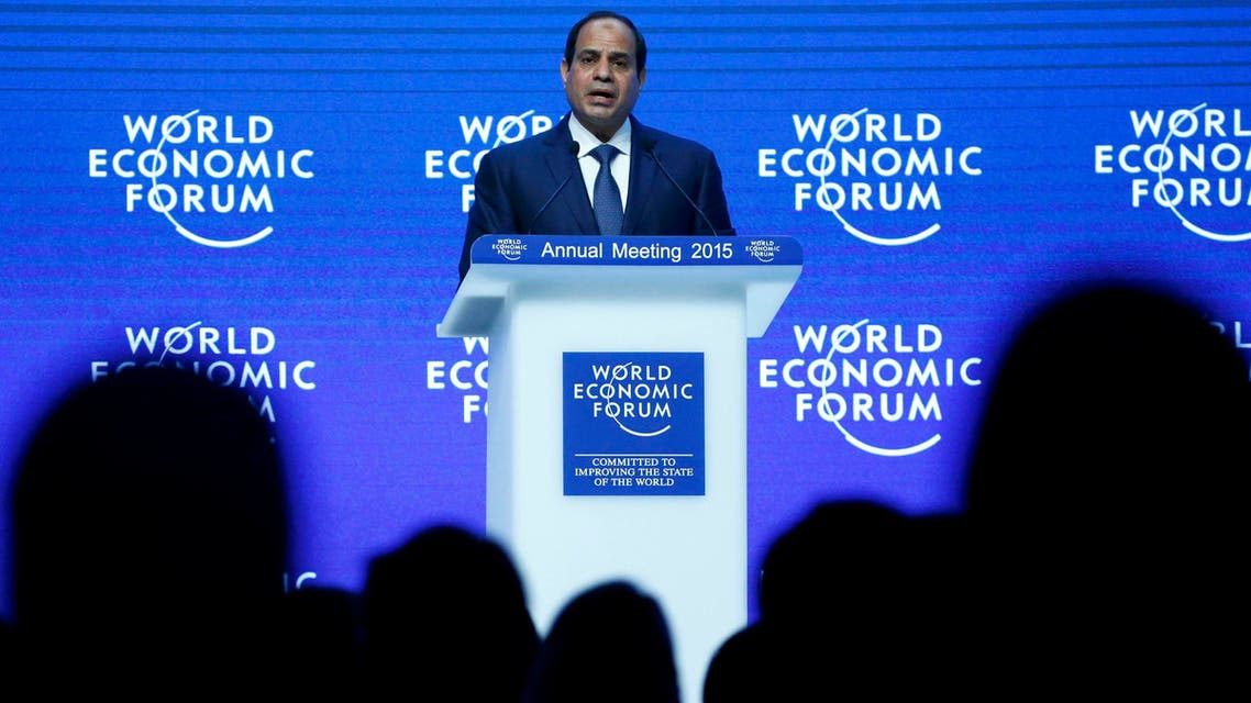 Egyptian President Abdel Fattah al-Sisi makes a speech during the Egypt in the World event in the Swiss mountain resort of Davos Jan. 22, 2015. (Reuters)