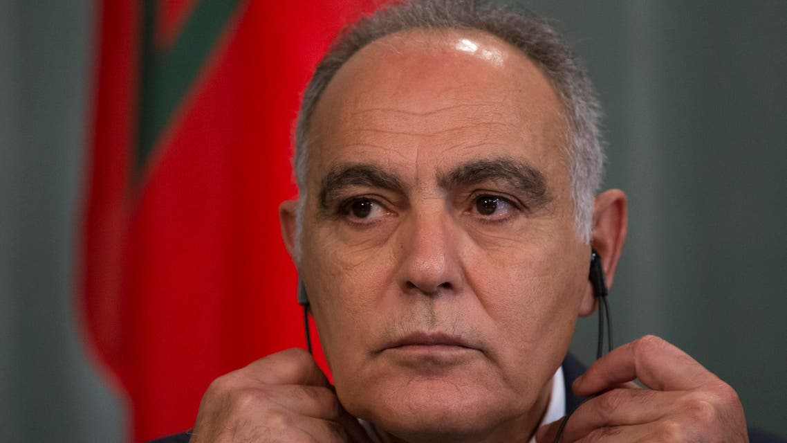 Moroccan Foreign Minister Salaheddine Mezouar listens to a question during a press conference with Russian Foreign Minister Sergey Lavrov, after their talks in Moscow, Russia, Thursday, July 3, 2014. (AP Photo/Alexander Zemlianichenko)