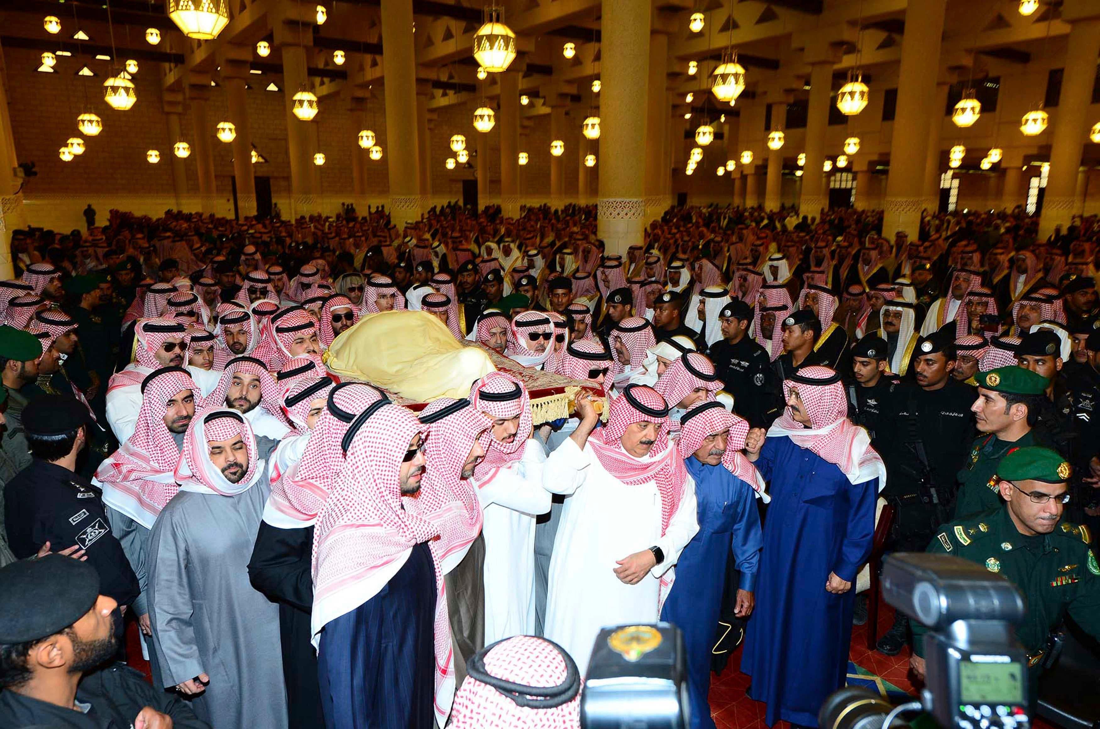 The body of Saudi King Abdullah is carried during his funeral at Imam Turki Bin Abdullah Grand Mosque in Riyadh Jan. 23, 2015 (Reuters)
