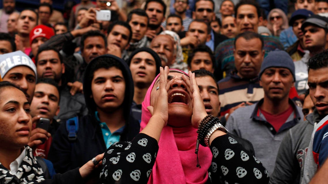 An anti-government protester chants slogans during a protest in front of the journalists' syndicate in Cairo Jan. 25, 2015. (Reuters)