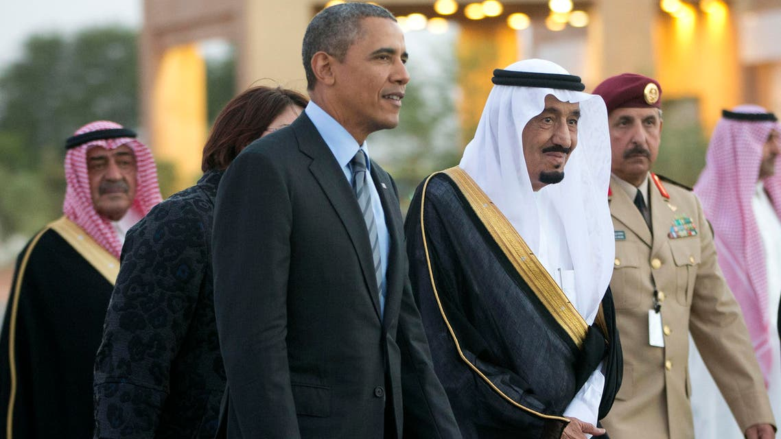 Saud Arabia's King Salman, when he was crown prince, escort President Barack Obama to a meeting with late King Abdullah on March 28, 2014. (AP)