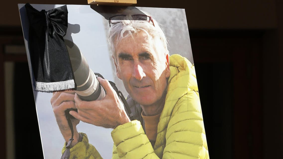 picture taken on September 25, 2014, in Nice, southeastern France, shows a poster of late French mountain-guide Herve Gourdel. (File photo: AFP)