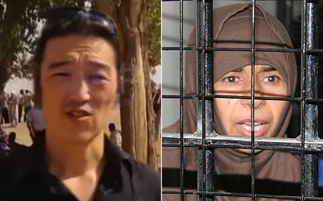 ISIS are demanding that Sajida al-Rishawi (R) be freed in exchange for the release of Kenji Goto (L). (AP/Reuters)