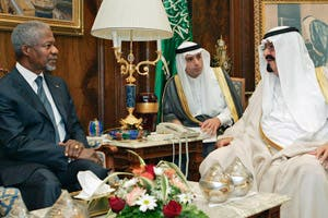 Late King Abdullah bin Abdulaziz (R) with then U.N. Secretary General Kofi Anan (L), and Saudi Arabian Ambassador to the U.S. and Foreign Policy Advisor to the King HE Adel A. Al-Jubeir. (Photo by United Nations)