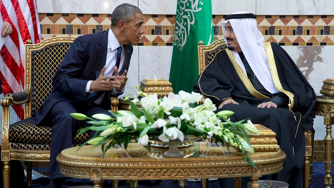 President Barack Obama meets with the new Saudi Arabian King Salman bin Abdul Aziz, in Riyadh, Saudi Arabia, Tuesday, Jan. 27, 2015. (AP)