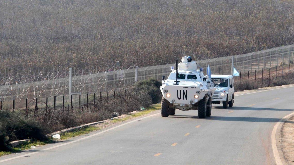 U.N. peacekeepers of the United Nations Interim Force in Lebanon (UNIFIL) patrol the Lebanese-Israeli border, beside Kfar Kila village in south Lebanon Jan. 19, 2015.  (Reuters)