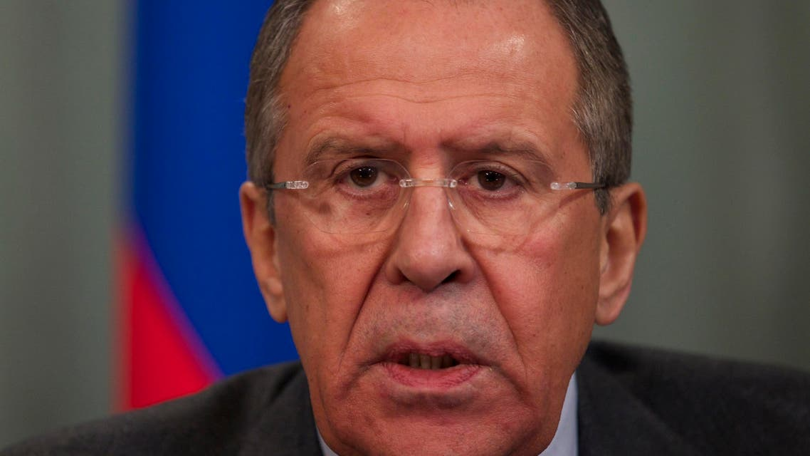 Russian Foreign Minister Sergey Lavrov speaks during a news conference after his talks with Israeli counterpart Avigdor Lieberman in Moscow, Russia, Monday, Jan. 26, 2015. (AP Photo/Ivan Sekretarev)