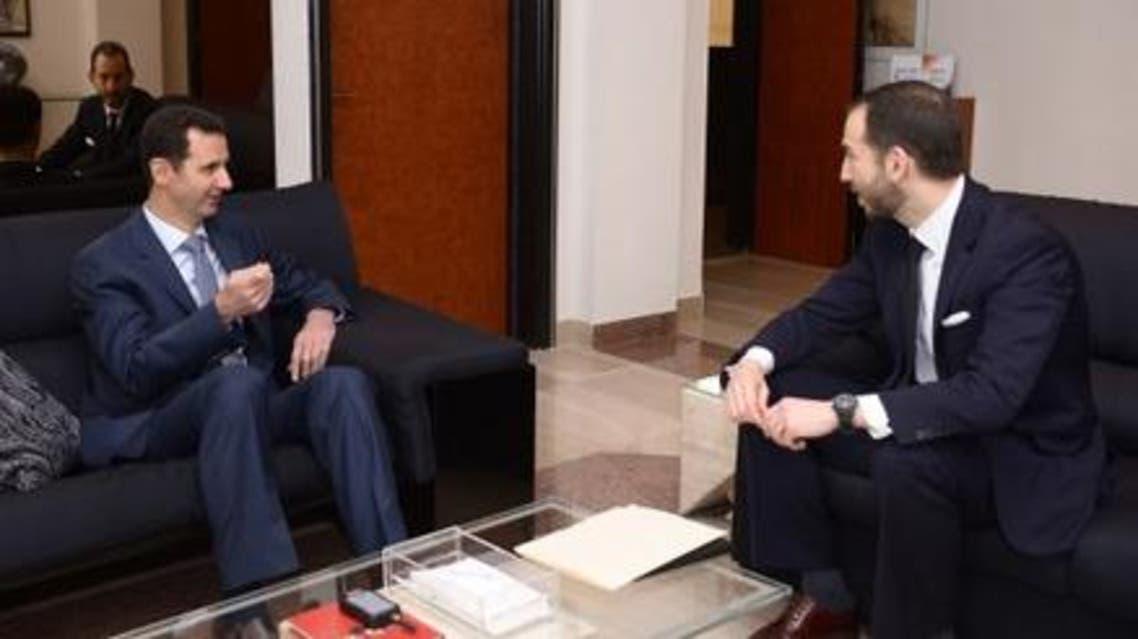 Jonathan Tepperman (R) interviews President Bashar al-Assad. (Photo courtesy: Media and Communications Office, Presidency of Syria)