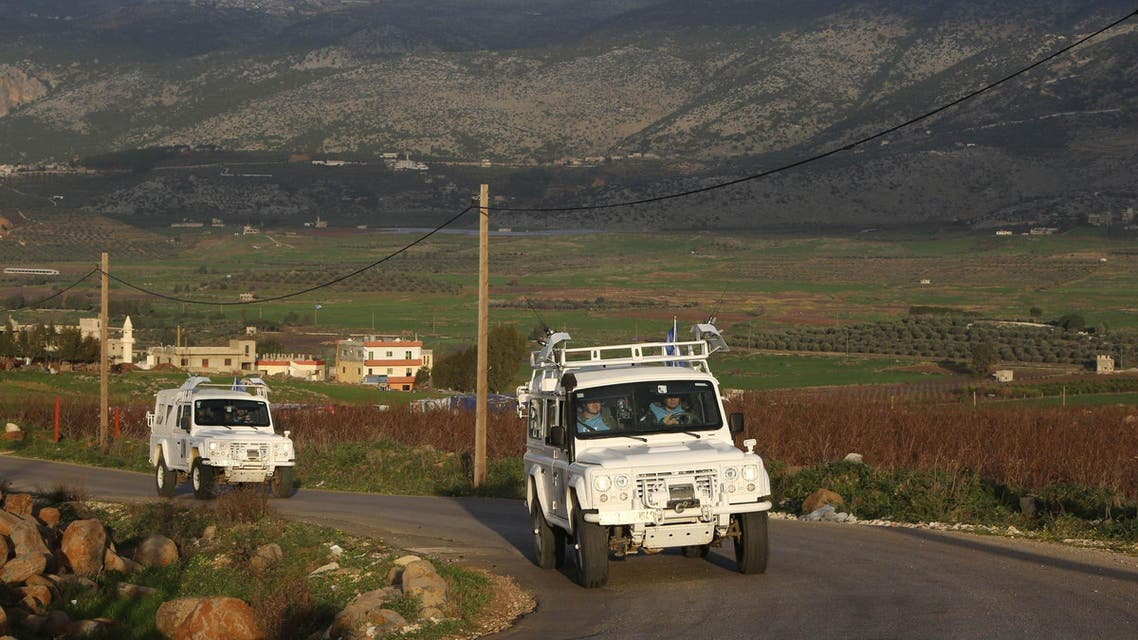 Spanish U.N. peacekeepers serving with the UNIFIL patrol in Ain Arab village, south Lebanon, near the border with Israel REUTERS