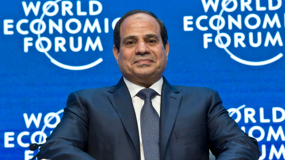 """Egyptian President Abdel-Fattah el-Sissi listens to the opening remarks of the panel """"Egypt in the World"""" at the World Economic Forum in Davos, Switzerland, Thursday, Jan. 22, 2015. (File photo: AP)"""