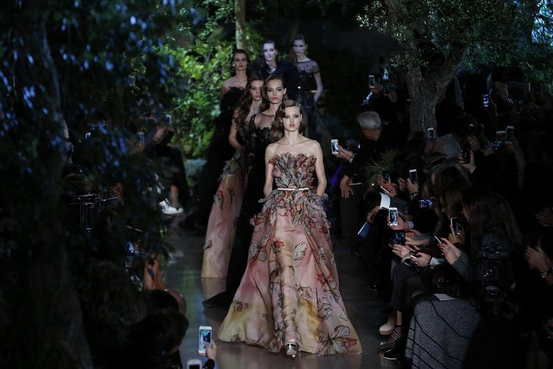 A model presents a creation by Elie Saab during the 2015 Haute Couture Spring-Summer collection fashion show on January 28, 2015 in Paris. (AFP)