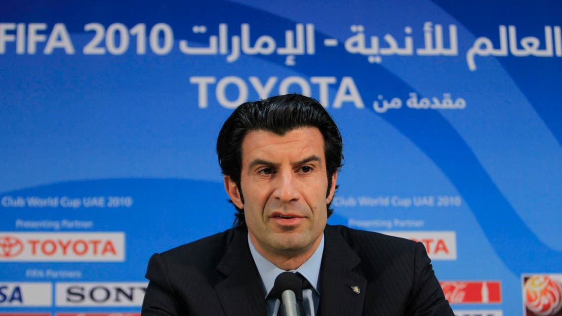 Former Portuguese international and Inter Milan player Luis Figo speaks during a news conference in Zayed sport city in Abu Dhabi
