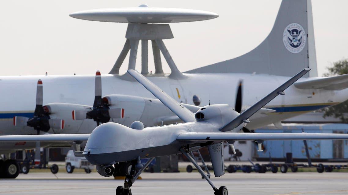 a Predator B unmanned aircraft taxis at the Naval Air Station in Corpus Christi, Texas. (AP)