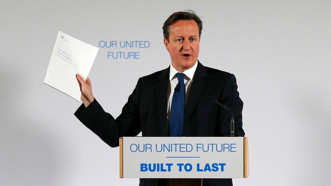 Britain's Prime Minister David Cameron delivers a speech at Dynamic Earth in Edinburgh, Scotland Jan. 22, 2015. (Reuters)