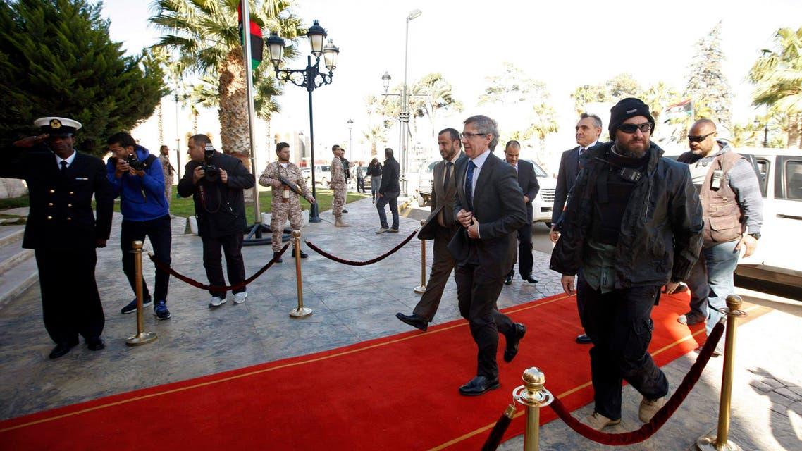 U.N. Special Representative Bernardino Leon (5th R) arrives at the General National Congress (GNC) headquarters in Tripoli Feb. 2, 2015.  (Reuters)
