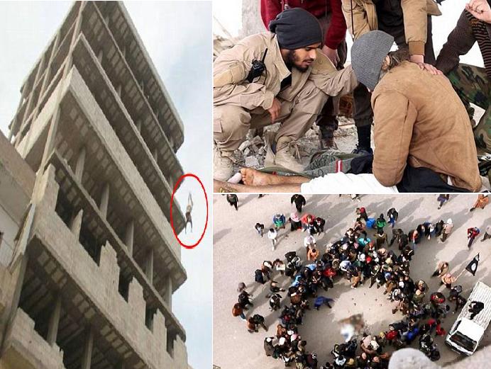 أحدهم من التنظيم يحدثه قبل الصعود به إلى المبنى، وحين بقي حيا بعد السقوط أحاطوا به ورجموه