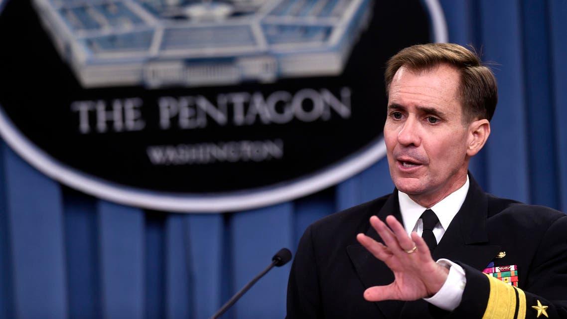 Pentagon press secretary Navy Rear Adm. John Kirby speaks during a briefing at the Pentagon, Tuesday, Sept. 2, 2014. AP