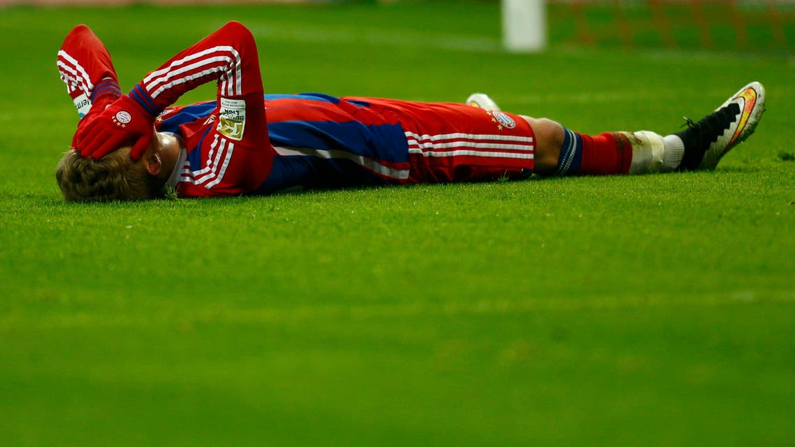 Bayern Munich's Mitchell Weiser reacts following a fmissed chance against Schalke 04 during their German first division Bundesliga soccer match in Munich February 3, 2015. (Reuters)