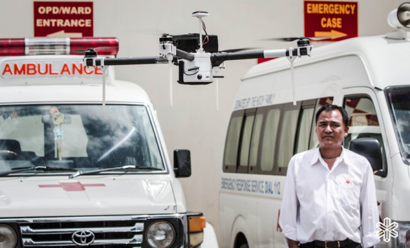 Delivery drones are being tested to connect Bhutan's main hospital with smaller healthcare units in rural and mountain communities .(Photo: www.dronesforgood.ae)