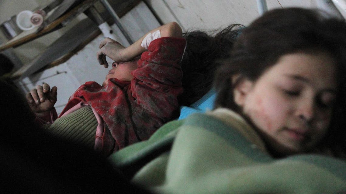 Injured girls lie in a field hospital, after what activists said was an airstrike by forces loyal to Syria's President Bashar al-Assad, in the Duma neighborhood of Damascus, February 3, 2015. (Reuters)