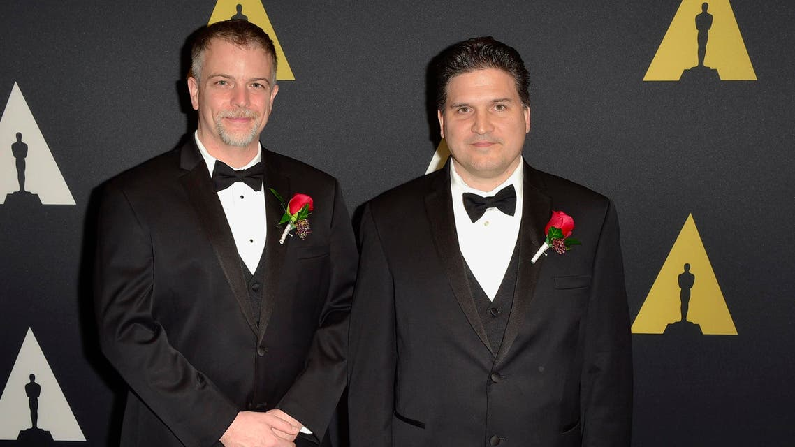 Technical Achievement Award winners Brice Criswell (L) and Ron Fedkiw (R) arrive at the Academy of Motion Picture Arts and Sciences Scientific and Technical Awards Oscars Ceremony in Beverly Hills, California February 7, 2015. (Reuters)