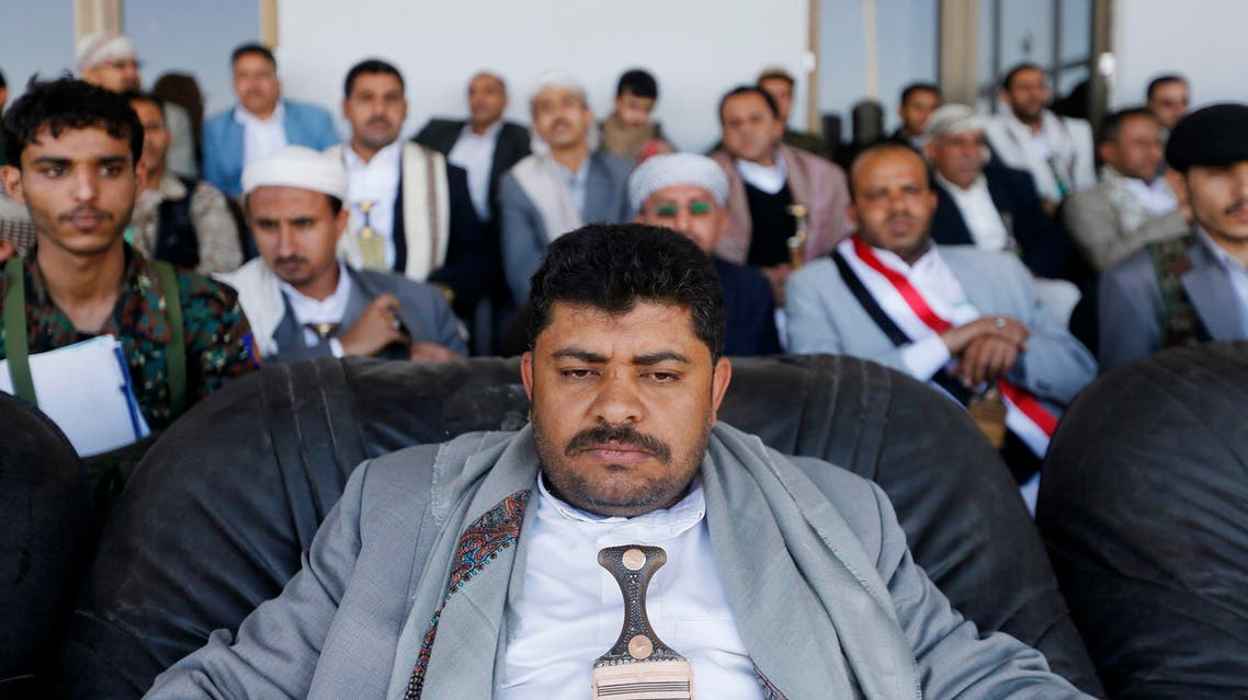 Mohammed Houthi, a top official in the Houthi group's military wing, attends a Houthi rally at the main stadium in Sanaa, February 7, 2015. (Reuters)