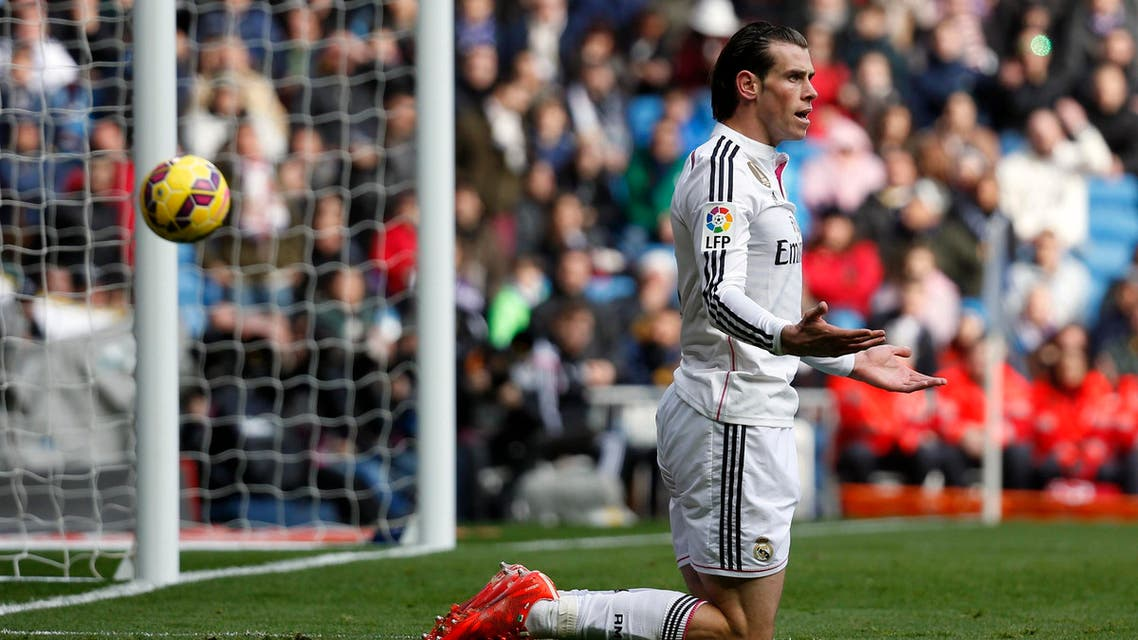 Real Madrid's Gareth Bale reacts after a missed scoring opportunity against Real Sociedad during their Spanish first division soccer match at Santiago Bernabeu stadium in Madrid, Jan. 31, 2015. (Reuters)