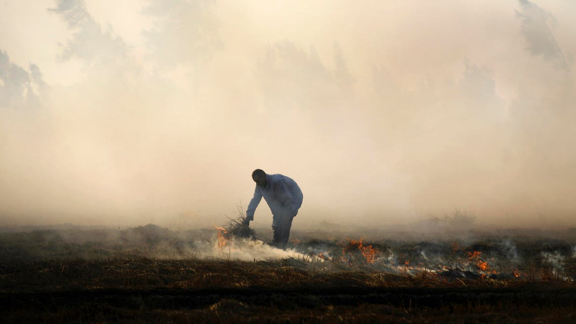 A rice farmer burns hay in a field, the traditional method of clearing fields before planting new crops, on the outskirts of Mansoura, on the Nile Delta, Egypt. (File photo: AP)