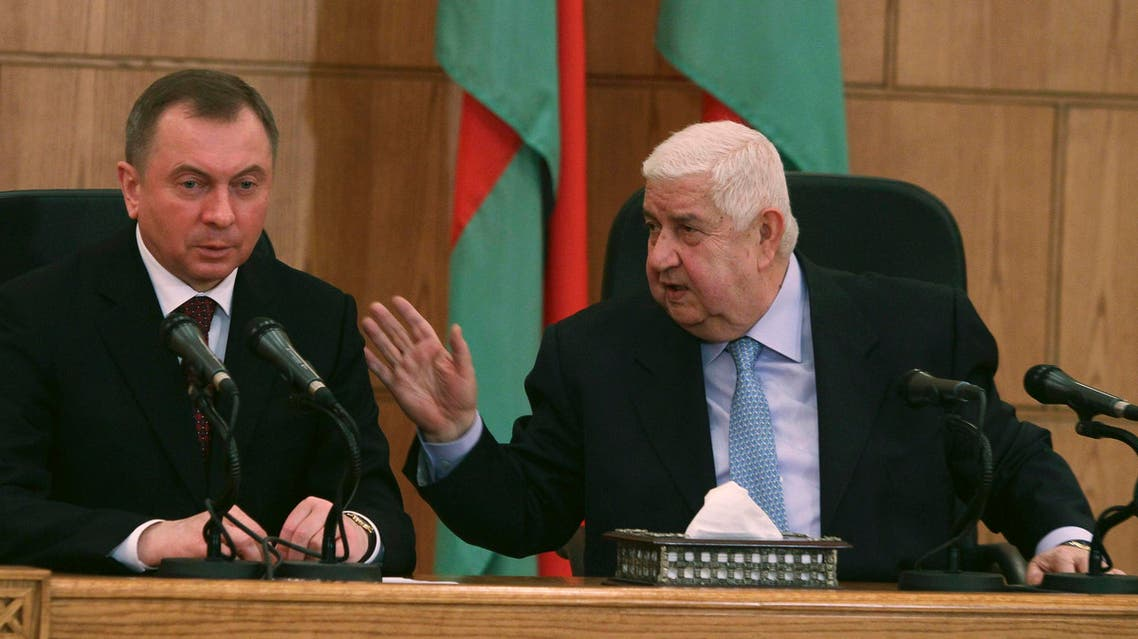 Syria's Foreign Minister Walid al-Moualem (R) speaks during a joint news conference with Belarus' Foreign Minister Vladimir Makei in Damascus February 9, 2015. Reuters